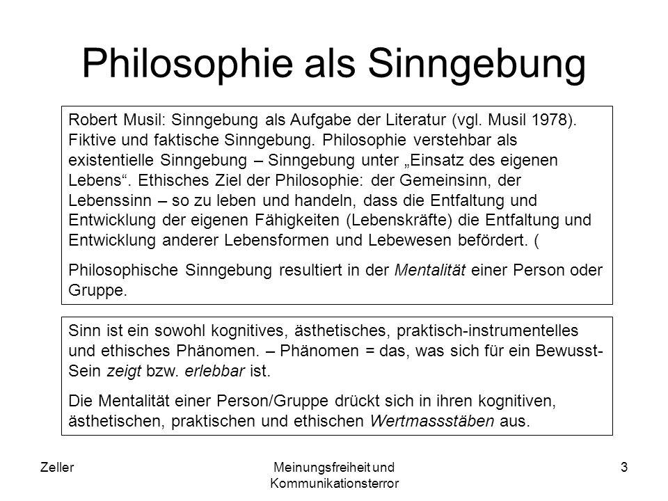 ZellerMeinungsfreiheit und Kommunikationsterror 4 Informationsmetaphysik Metaphysische Grundlage menschlicher Kommunikation.