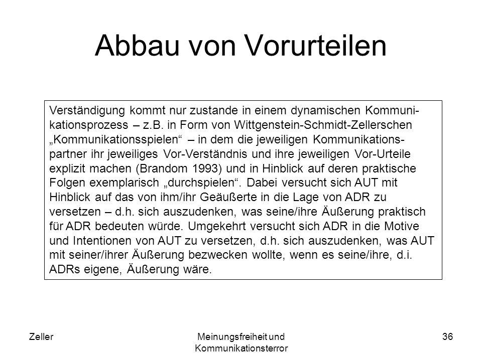 ZellerMeinungsfreiheit und Kommunikationsterror 37 Beispiel Rothstein & Rothstein 2006 liefern in ihrem Buch über die Mohammedkarikaturen Die Bombe im Turban ein Beispiel dafür, wie sich durch ein Gedankenexperiment Vorurteile abbauen lassen.