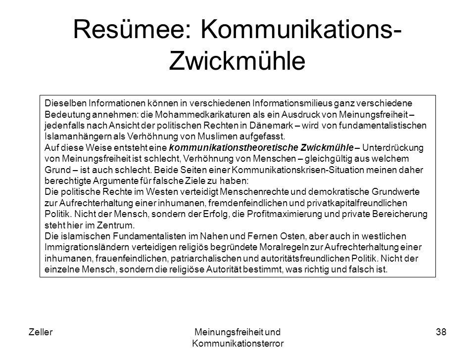 ZellerMeinungsfreiheit und Kommunikationsterror 38 Resümee: Kommunikations- Zwickmühle Dieselben Informationen können in verschiedenen Informationsmil