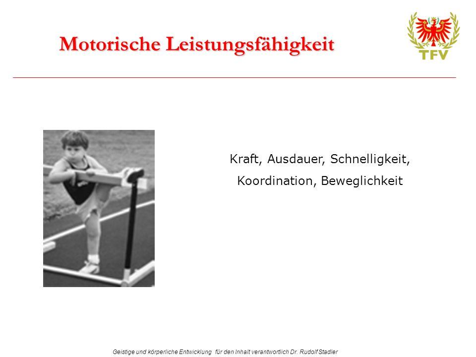 Geistige und körperliche Entwicklung für den Inhalt verantwortlich Dr. Rudolf Stadler Motorische Leistungsfähigkeit Kraft, Ausdauer, Schnelligkeit, Ko