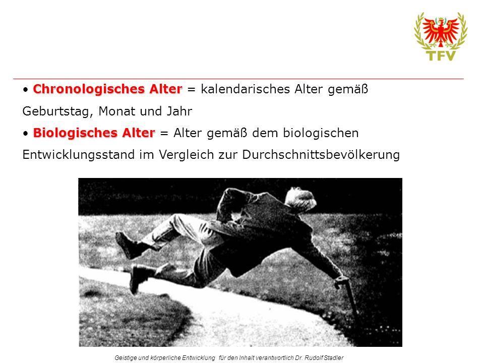 Geistige und körperliche Entwicklung für den Inhalt verantwortlich Dr. Rudolf Stadler Chronologisches Alter Chronologisches Alter = kalendarisches Alt