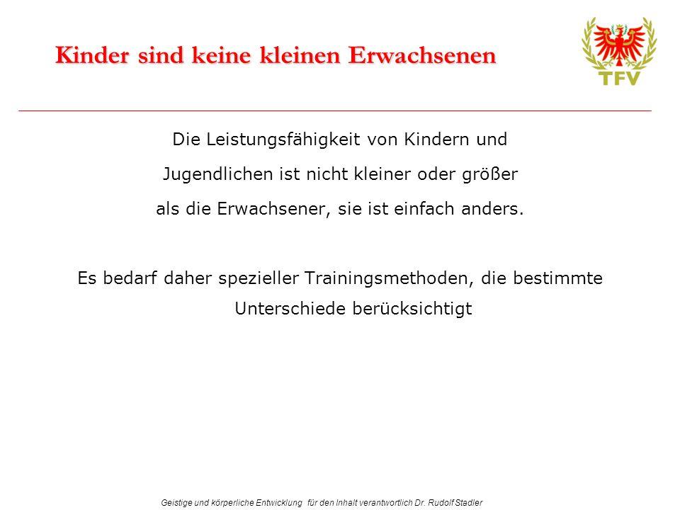 Geistige und körperliche Entwicklung für den Inhalt verantwortlich Dr. Rudolf Stadler Kinder sind keine kleinen Erwachsenen Die Leistungsfähigkeit von