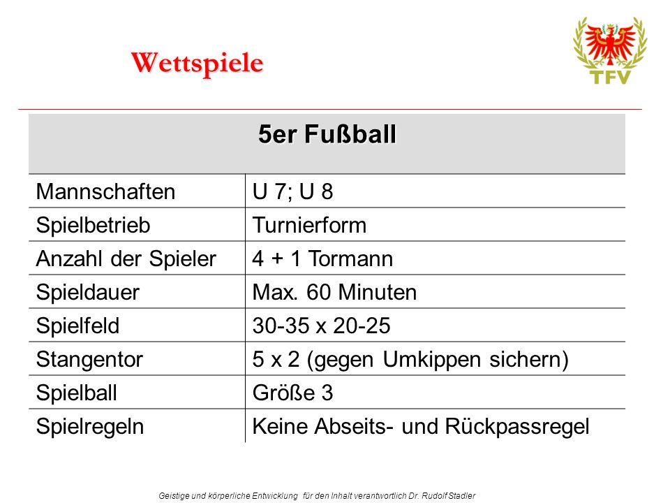 Geistige und körperliche Entwicklung für den Inhalt verantwortlich Dr. Rudolf Stadler Wettspiele 5er Fußball MannschaftenU 7; U 8 SpielbetriebTurnierf