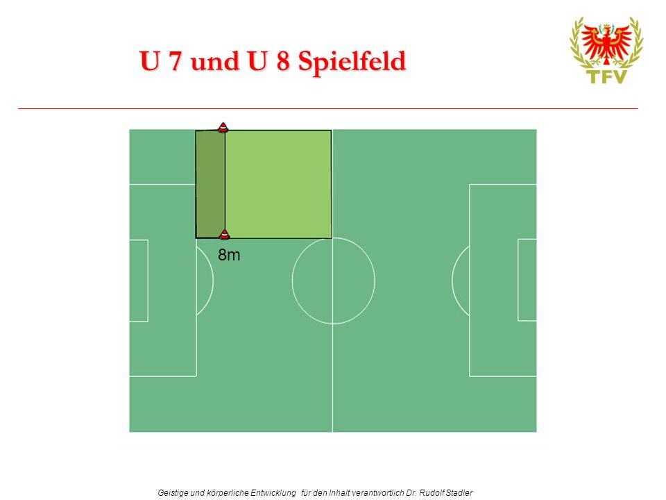 Geistige und körperliche Entwicklung für den Inhalt verantwortlich Dr. Rudolf Stadler U 7 und U 8 Spielfeld 8m