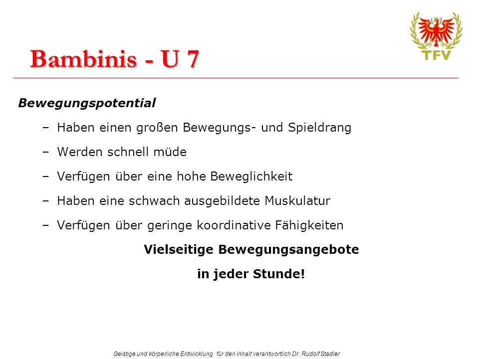 Geistige und körperliche Entwicklung für den Inhalt verantwortlich Dr. Rudolf Stadler Bambinis - U 7 Bewegungspotential –Haben einen großen Bewegungs-