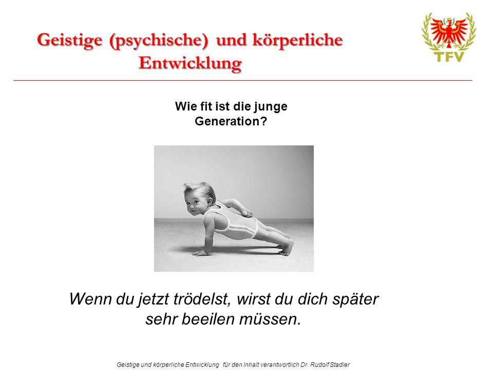 Geistige und körperliche Entwicklung für den Inhalt verantwortlich Dr. Rudolf Stadler Geistige (psychische) und körperliche Entwicklung Wie fit ist di