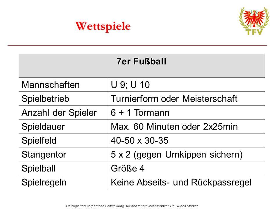 Wettspiele 7er Fußball MannschaftenU 9; U 10 SpielbetriebTurnierform oder Meisterschaft Anzahl der Spieler6 + 1 Tormann SpieldauerMax. 60 Minuten oder