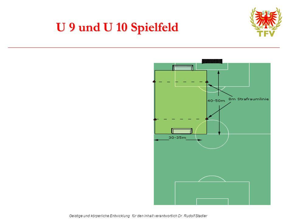 Geistige und körperliche Entwicklung für den Inhalt verantwortlich Dr. Rudolf Stadler U 9 und U 10 Spielfeld