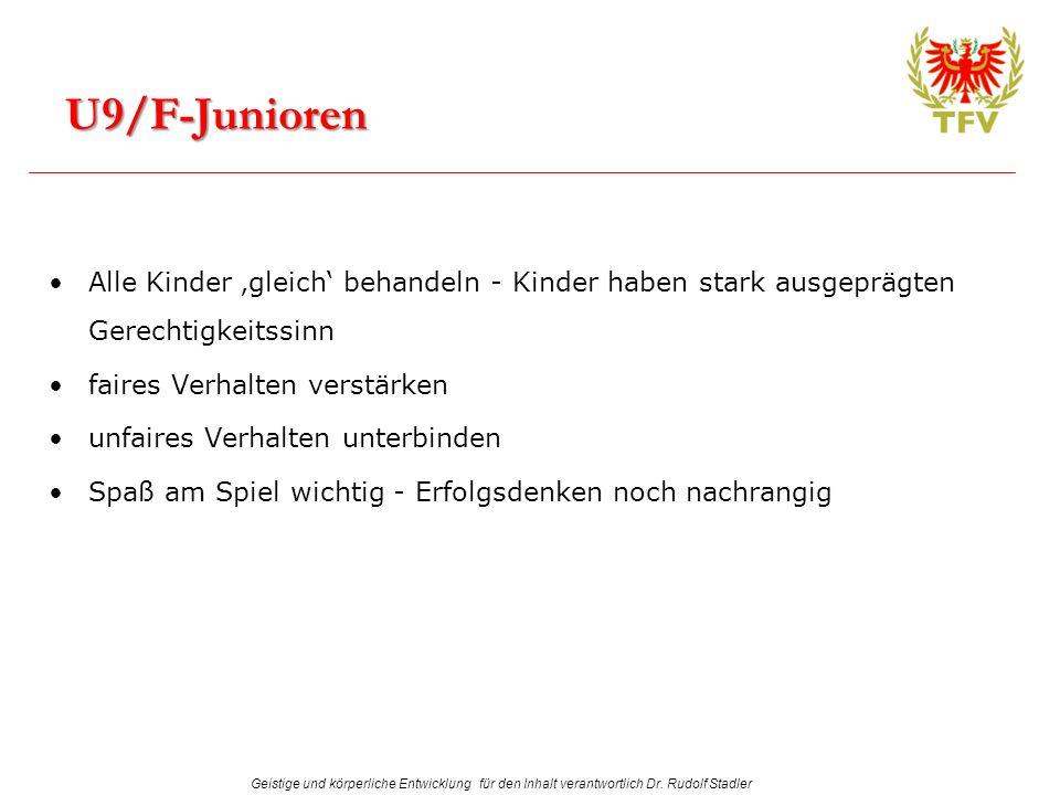 Geistige und körperliche Entwicklung für den Inhalt verantwortlich Dr. Rudolf Stadler Alle Kinder gleich behandeln - Kinder haben stark ausgeprägten G