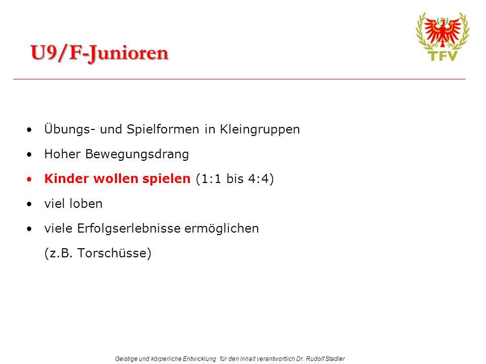 Geistige und körperliche Entwicklung für den Inhalt verantwortlich Dr. Rudolf Stadler Übungs- und Spielformen in Kleingruppen Hoher Bewegungsdrang Kin