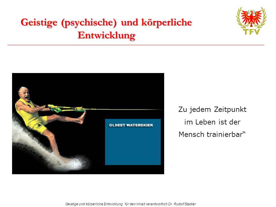 Geistige und körperliche Entwicklung für den Inhalt verantwortlich Dr. Rudolf Stadler Geistige (psychische) und körperliche Entwicklung Zu jedem Zeitp