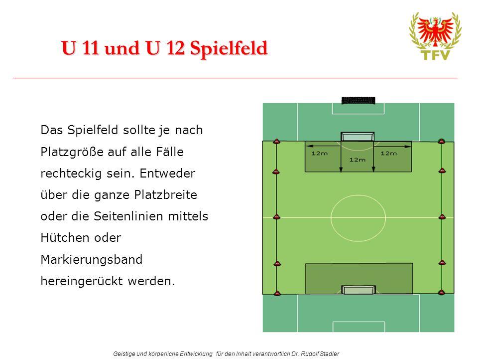 Geistige und körperliche Entwicklung für den Inhalt verantwortlich Dr. Rudolf Stadler U 11 und U 12 Spielfeld Das Spielfeld sollte je nach Platzgröße