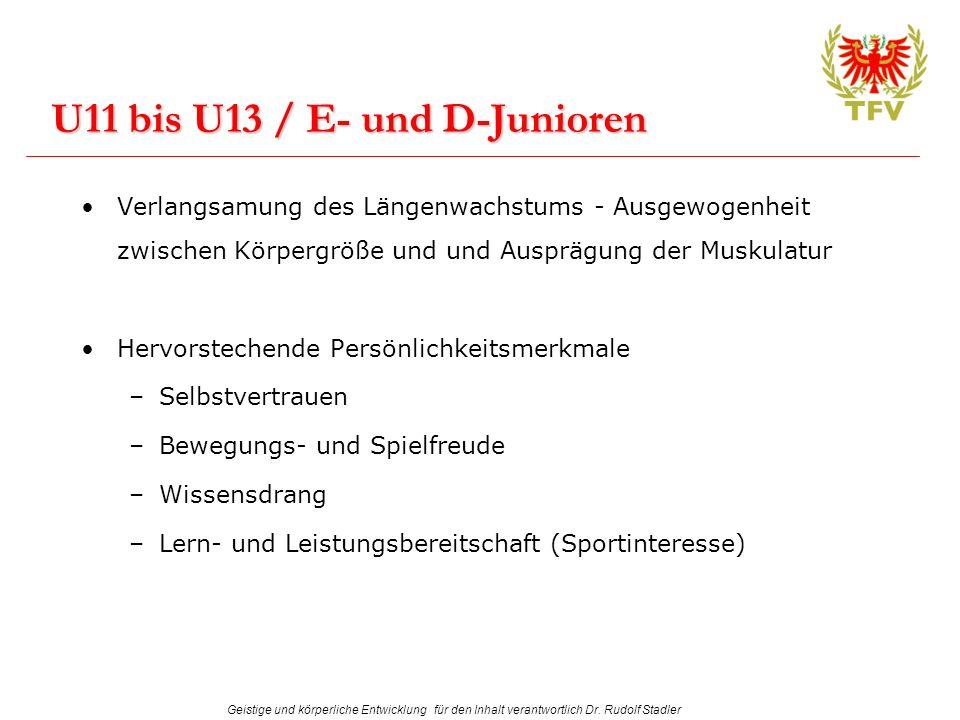 Geistige und körperliche Entwicklung für den Inhalt verantwortlich Dr. Rudolf Stadler U11 bis U13 / E- und D-Junioren Verlangsamung des Längenwachstum