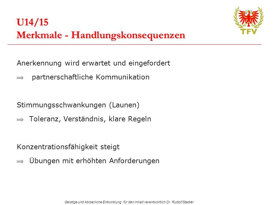 Geistige und körperliche Entwicklung für den Inhalt verantwortlich Dr. Rudolf Stadler U14/15 Merkmale - Handlungskonsequenzen Anerkennung wird erwarte