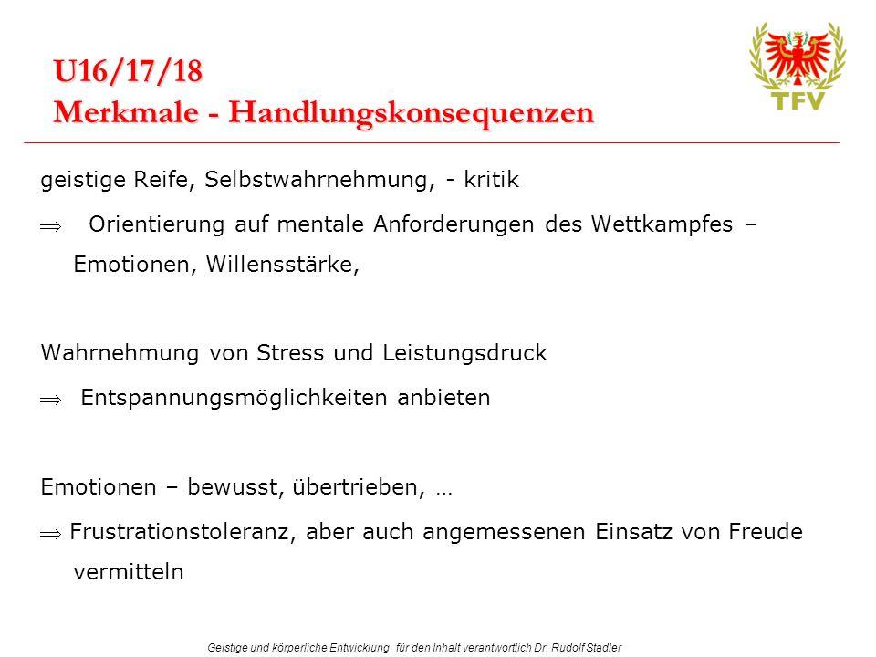 Geistige und körperliche Entwicklung für den Inhalt verantwortlich Dr. Rudolf Stadler U16/17/18 Merkmale - Handlungskonsequenzen geistige Reife, Selbs