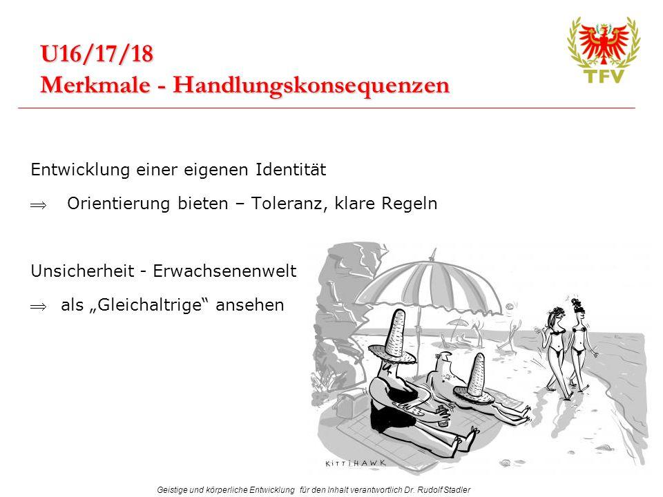Geistige und körperliche Entwicklung für den Inhalt verantwortlich Dr. Rudolf Stadler U16/17/18 Merkmale - Handlungskonsequenzen Entwicklung einer eig