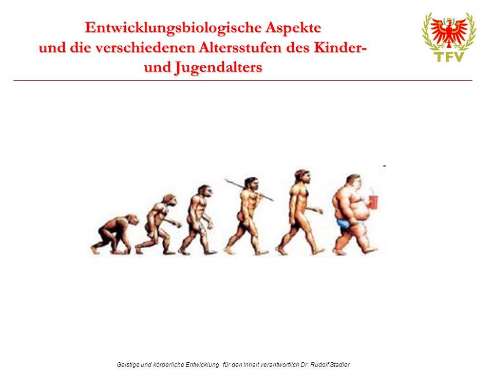 Geistige und körperliche Entwicklung für den Inhalt verantwortlich Dr. Rudolf Stadler Entwicklungsbiologische Aspekte und die verschiedenen Altersstuf