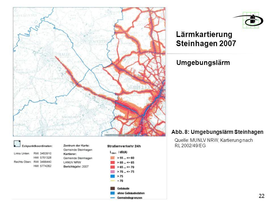 22 Umgebungslärm Abb. 8: Umgebungslärm Steinhagen Quelle: MUNLV NRW, Kartierung nach RL 2002/49/EG Lärmkartierung Steinhagen 2007