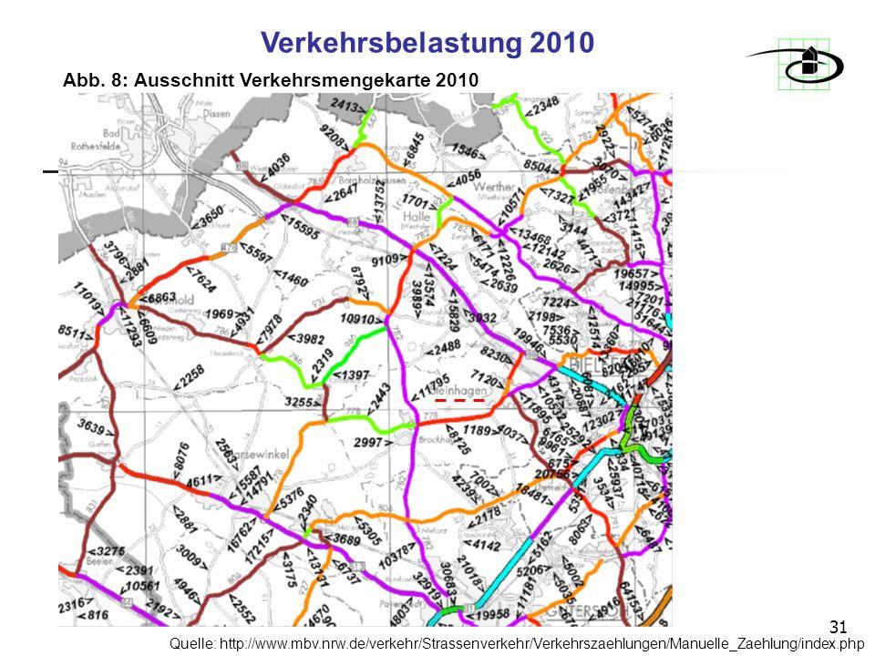 31 Abb. 8: Ausschnitt Verkehrsmengekarte 2010 Verkehrsbelastung 2010 Quelle: http://www.mbv.nrw.de/verkehr/Strassenverkehr/Verkehrszaehlungen/Manuelle