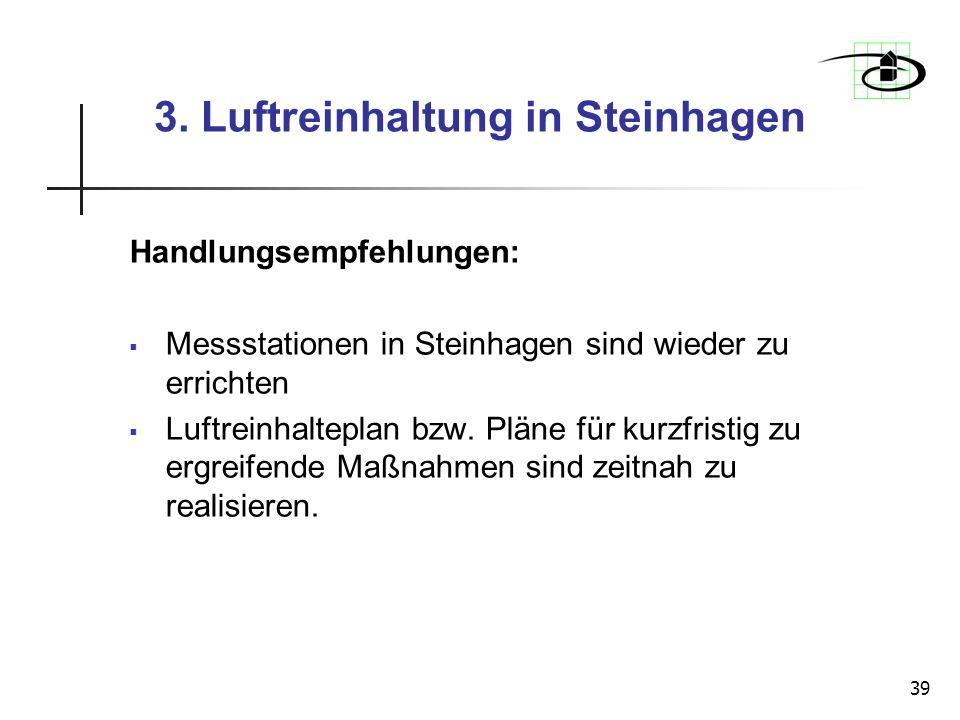 39 3. Luftreinhaltung in Steinhagen Handlungsempfehlungen: Messstationen in Steinhagen sind wieder zu errichten Luftreinhalteplan bzw. Pläne für kurzf