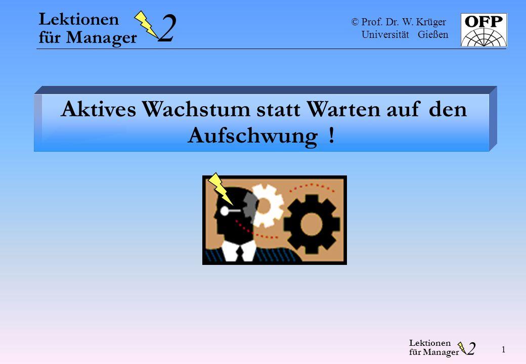 © Prof. Dr. W. Krüger Universität Gießen 2 Lektionen für Manager 1 Aktives Wachstum statt Warten auf den Aufschwung ! Lektionen für Manager 2