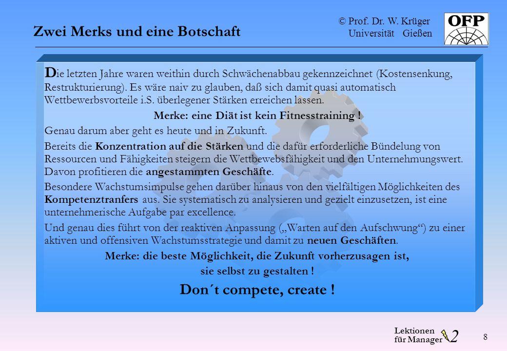 © Prof. Dr. W. Krüger Universität Gießen 2 Lektionen für Manager 8 Zwei Merks und eine Botschaft D ie letzten Jahre waren weithin durch Schwächenabbau