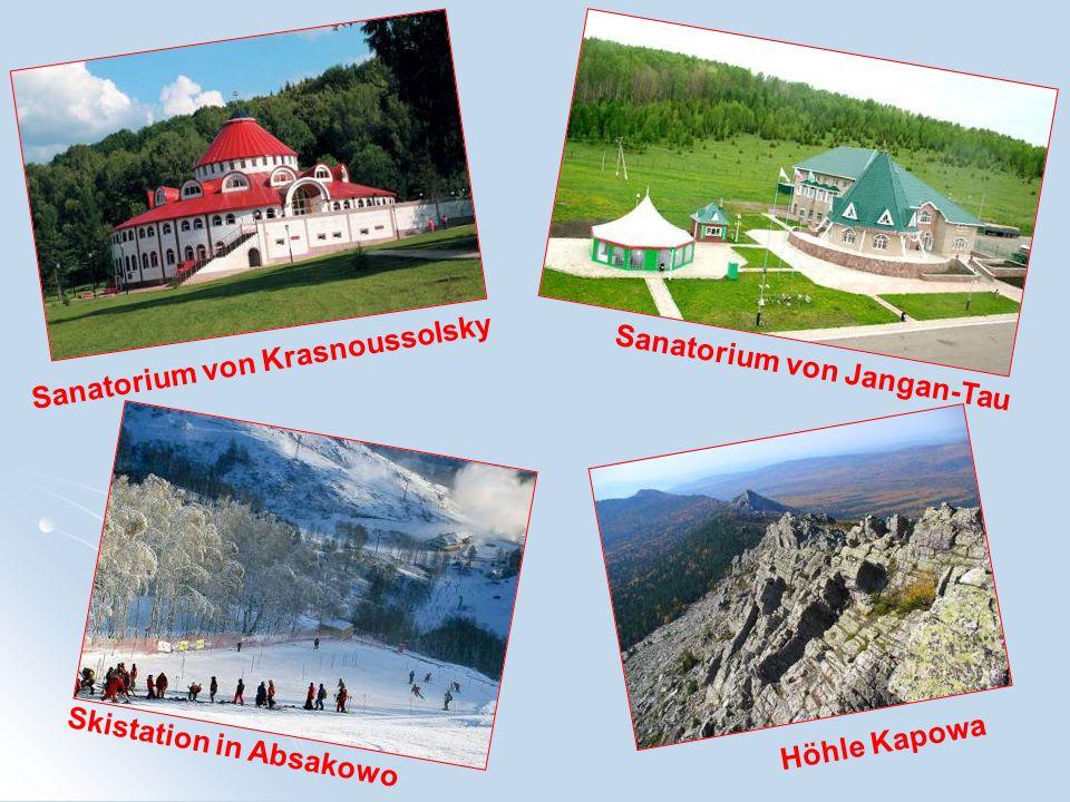 Sanatorium von Krasnoussolsky Sanatorium von Jangan-Tau Höhle Kapowa Skistation in Absakowo