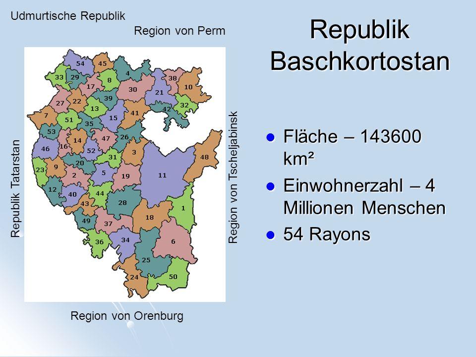 Region von Perm Udmurtische Republik Region von Tscheljabinsk Region von Orenburg Republik Tatarstan Fläche – 143600 km² Fläche – 143600 km² Einwohnerzahl – 4 Millionen Menschen Einwohnerzahl – 4 Millionen Menschen 54 Rayons 54 Rayons Republik Baschkortostan