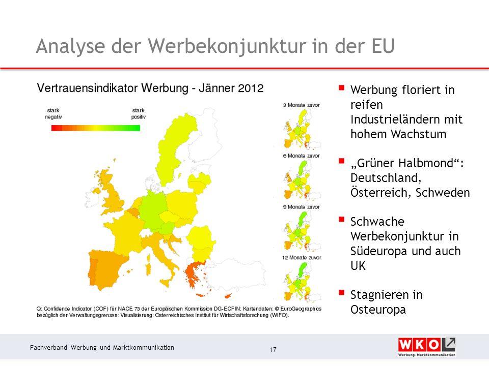 Fachverband Werbung und Marktkommunikation Analyse der Werbekonjunktur in der EU 17 Werbung floriert in reifen Industrieländern mit hohem Wachstum Grüner Halbmond: Deutschland, Österreich, Schweden Schwache Werbekonjunktur in Südeuropa und auch UK Stagnieren in Osteuropa