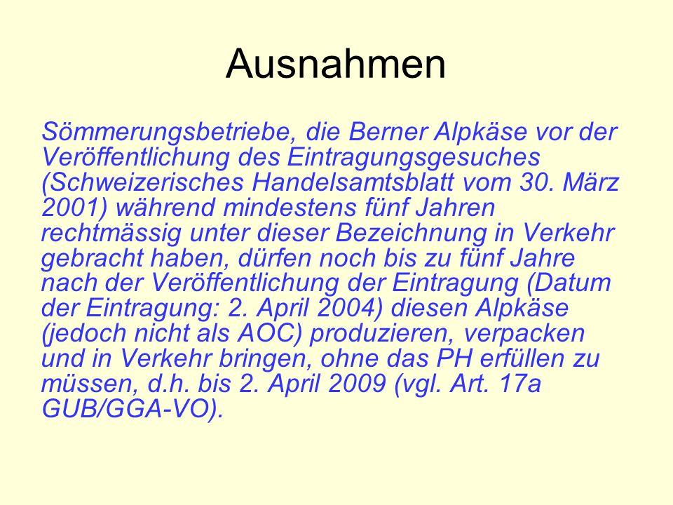 Ausnahmen Sömmerungsbetriebe, die Berner Alpkäse vor der Veröffentlichung des Eintragungsgesuches (Schweizerisches Handelsamtsblatt vom 30.