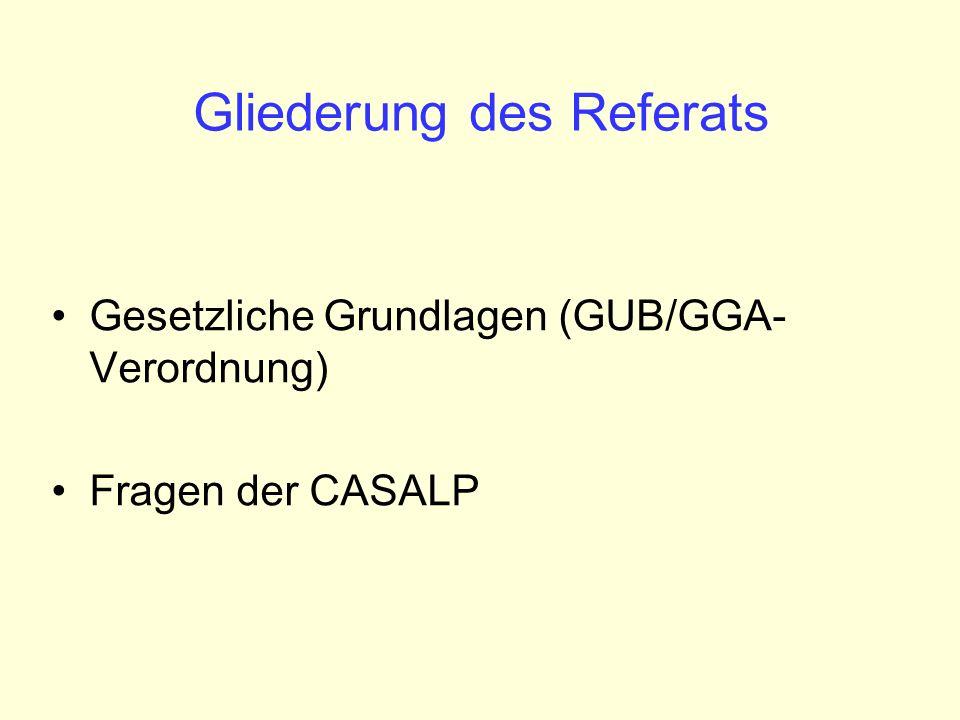 Gliederung des Referats Gesetzliche Grundlagen (GUB/GGA- Verordnung) Fragen der CASALP