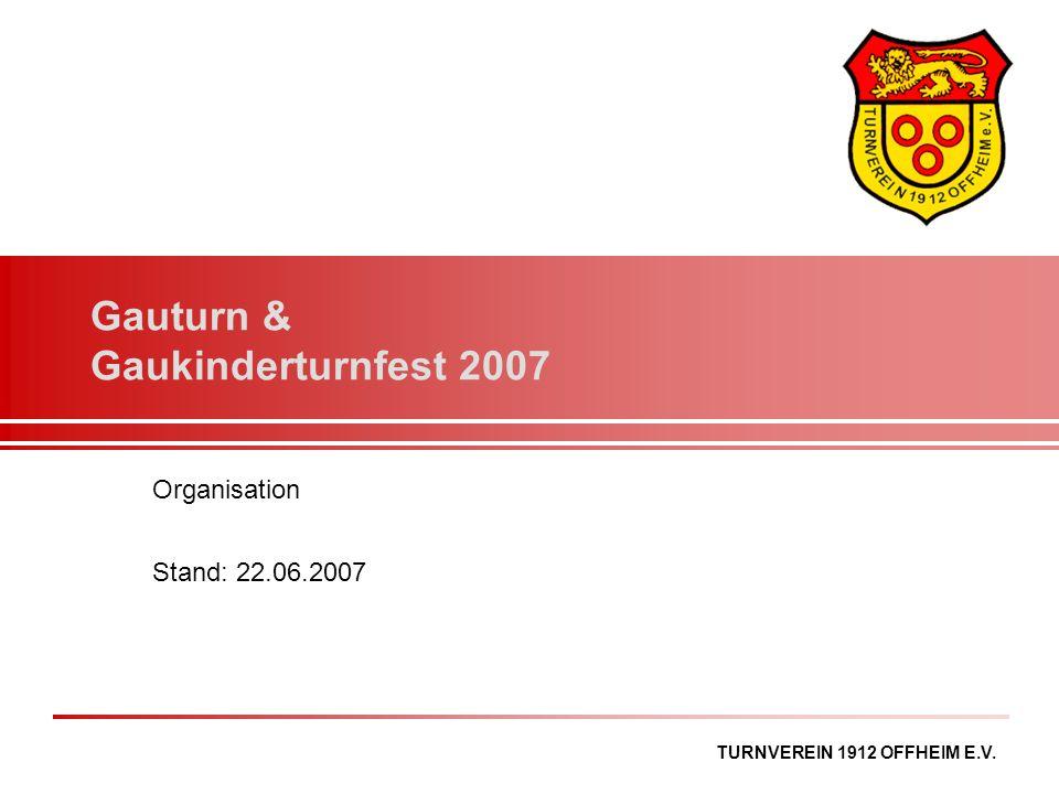 TURNVEREIN 1912 OFFHEIM E.V. Gauturn & Gaukinderturnfest 2007 Organisation Stand: 22.06.2007