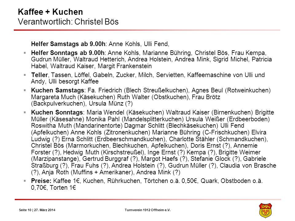 Turnverein 1912 Offheim e.V. Seite 10 | 27. März 2014 Kaffee + Kuchen Verantwortlich: Christel Bös Helfer Samstags ab 9.00h: Anne Kohls, Ulli Fend, He