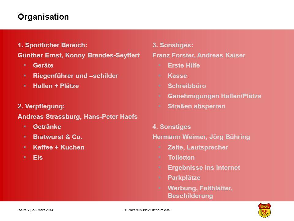 Turnverein 1912 Offheim e.V. Seite 2 | 27. März 2014 Organisation 1. Sportlicher Bereich: Günther Ernst, Konny Brandes-Seyffert Geräte Riegenführer un