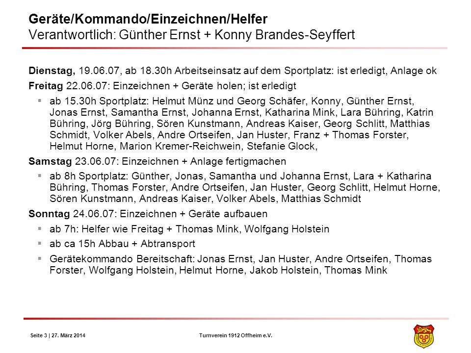 Turnverein 1912 Offheim e.V. Seite 3 | 27. März 2014 Geräte/Kommando/Einzeichnen/Helfer Verantwortlich: Günther Ernst + Konny Brandes-Seyffert Diensta