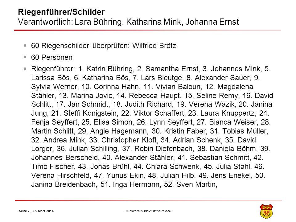 Turnverein 1912 Offheim e.V. Seite 7 | 27. März 2014 Riegenführer/Schilder Verantwortlich: Lara Bühring, Katharina Mink, Johanna Ernst 60 Riegenschild