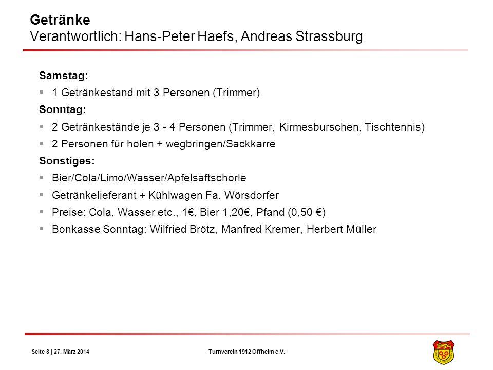 Turnverein 1912 Offheim e.V. Seite 8 | 27. März 2014 Getränke Verantwortlich: Hans-Peter Haefs, Andreas Strassburg Samstag: 1 Getränkestand mit 3 Pers