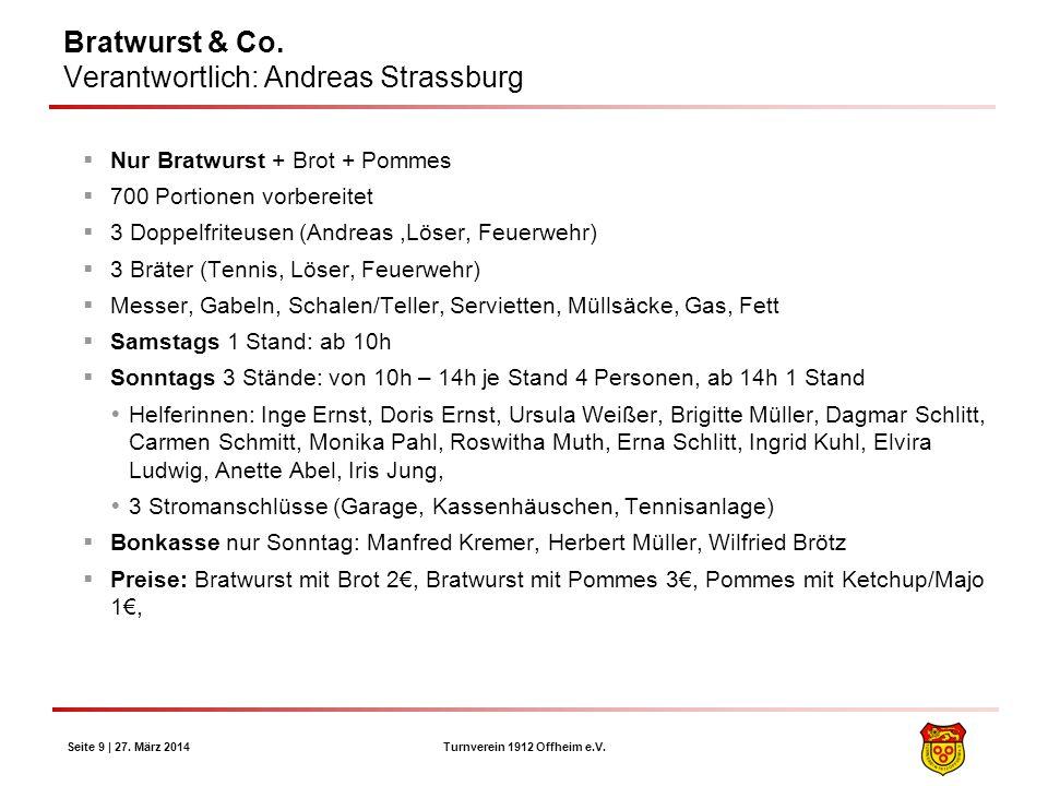 Turnverein 1912 Offheim e.V. Seite 9 | 27. März 2014 Bratwurst & Co. Verantwortlich: Andreas Strassburg Nur Bratwurst + Brot + Pommes 700 Portionen vo
