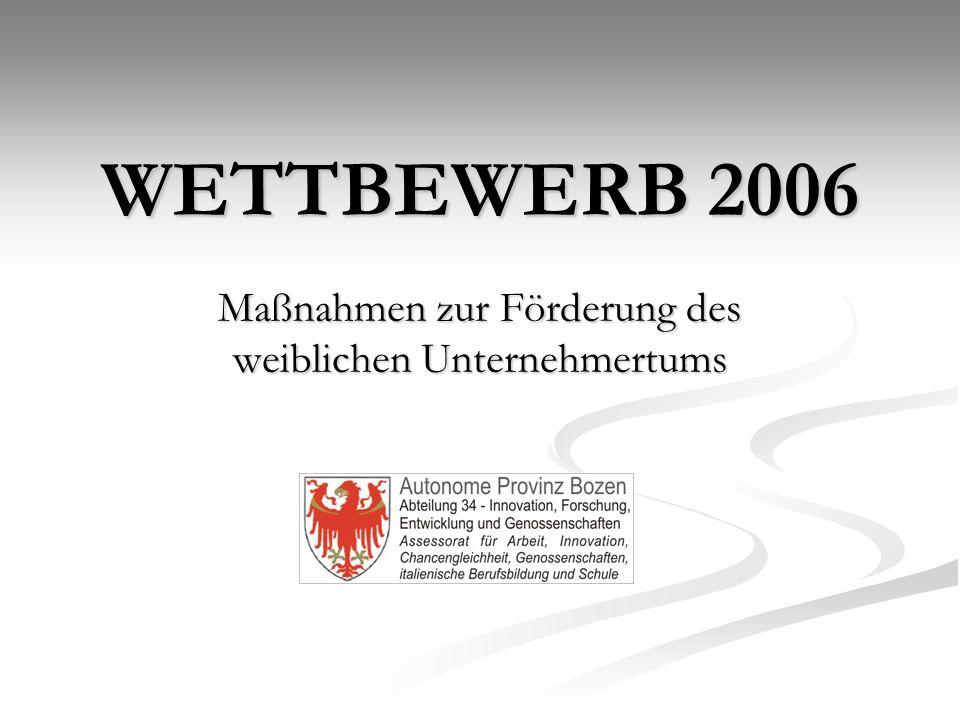 WETTBEWERB 2006 Maßnahmen zur Förderung des weiblichen Unternehmertums