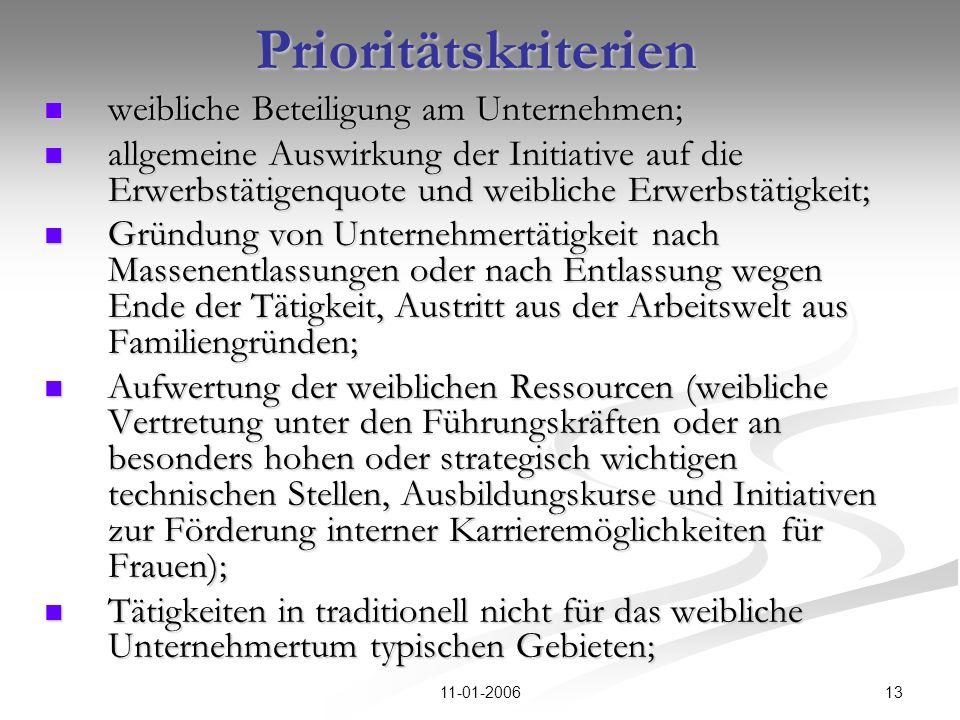 1311-01-2006Prioritätskriterien weibliche Beteiligung am Unternehmen; weibliche Beteiligung am Unternehmen; allgemeine Auswirkung der Initiative auf d