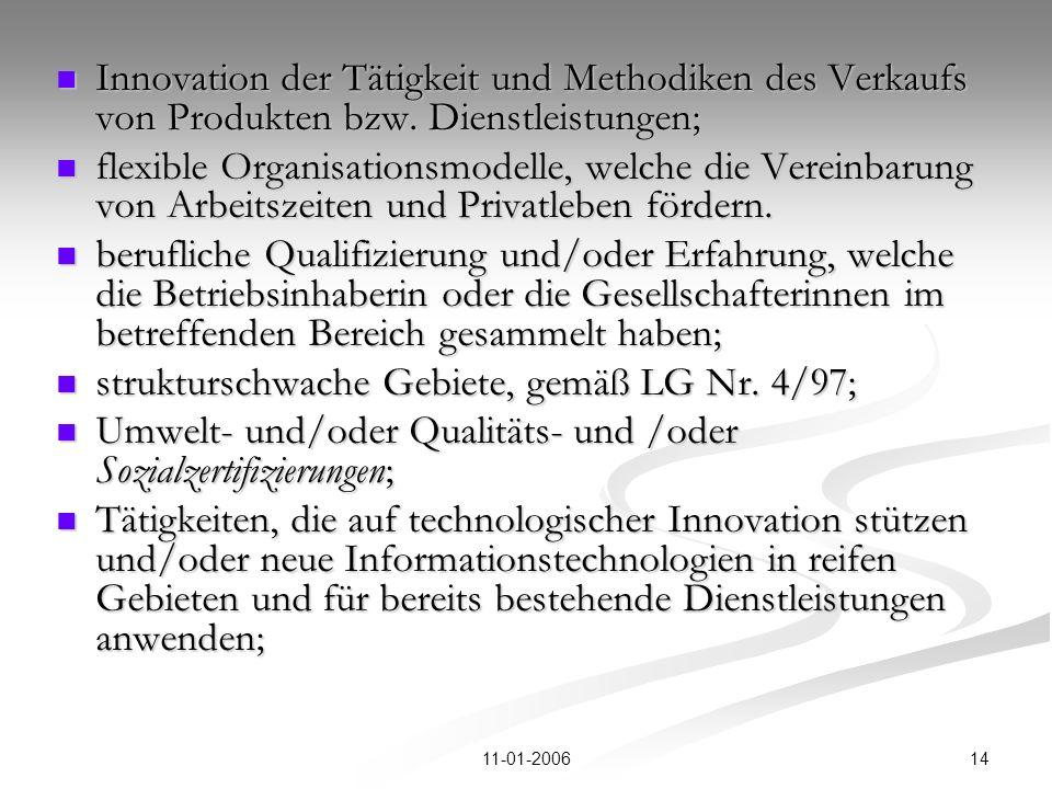 1411-01-2006 Innovation der Tätigkeit und Methodiken des Verkaufs von Produkten bzw.