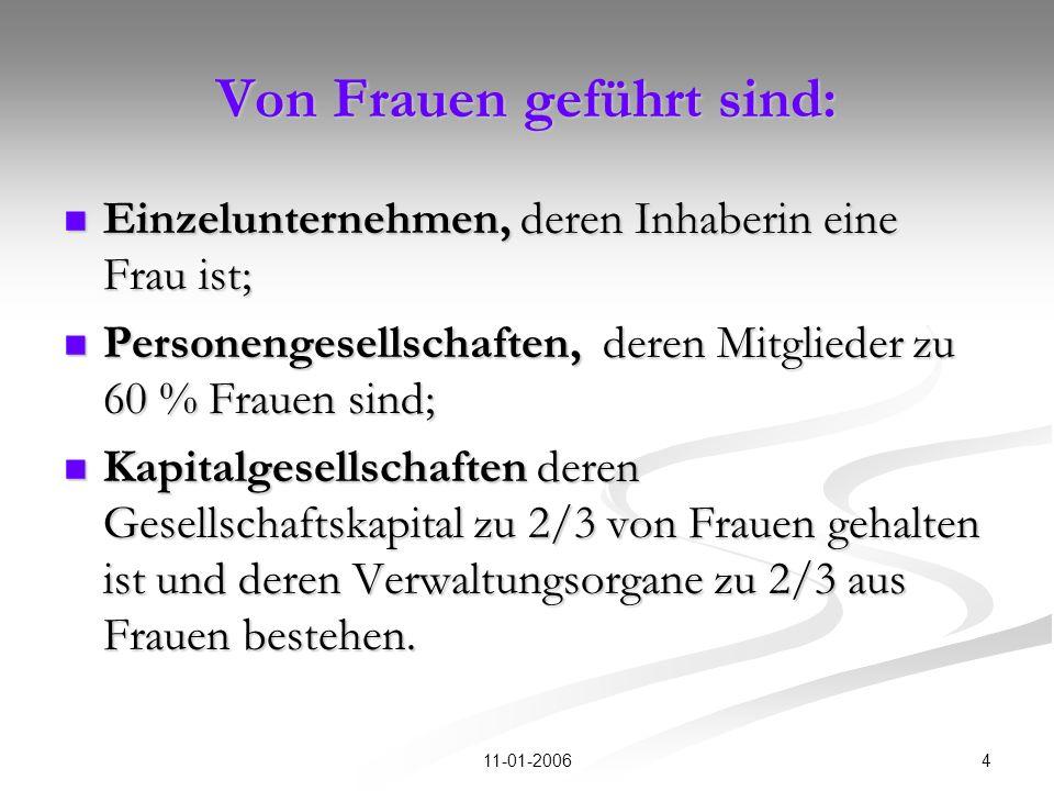 411-01-2006 Von Frauen geführt sind: Einzelunternehmen, deren Inhaberin eine Frau ist; Einzelunternehmen, deren Inhaberin eine Frau ist; Personengesel