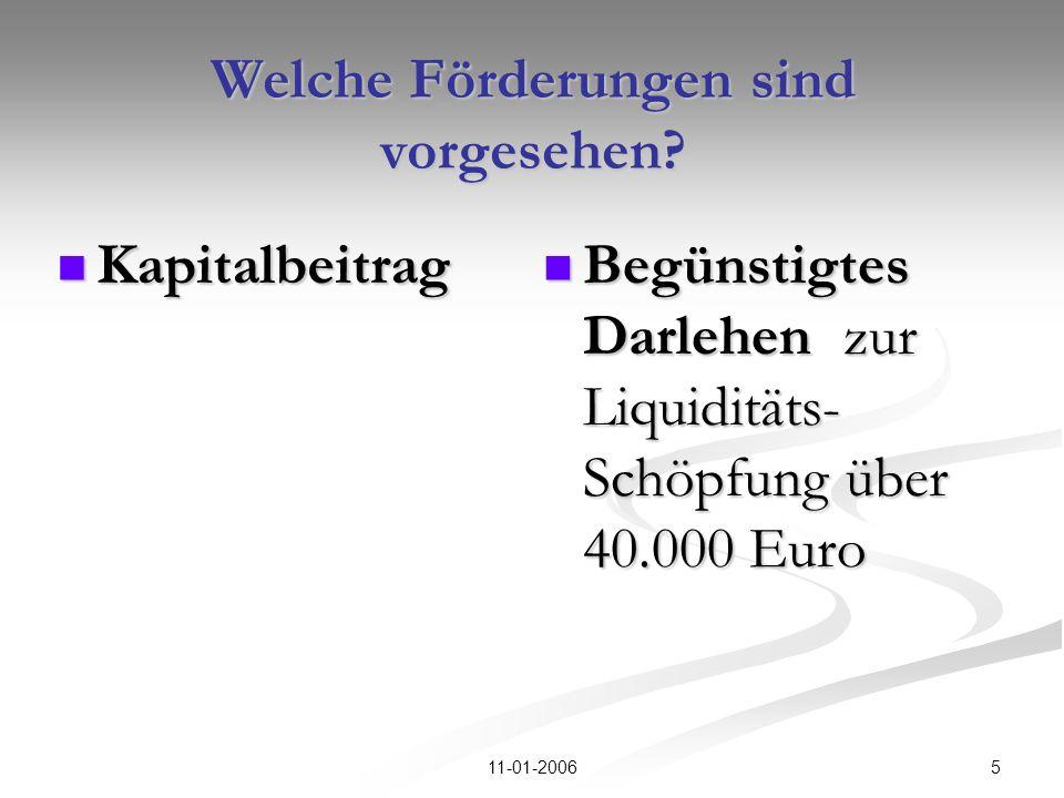 511-01-2006 Welche Förderungen sind vorgesehen? Kapitalbeitrag Kapitalbeitrag Begünstigtes Darlehen zur Liquiditäts- Schöpfung über 40.000 Euro