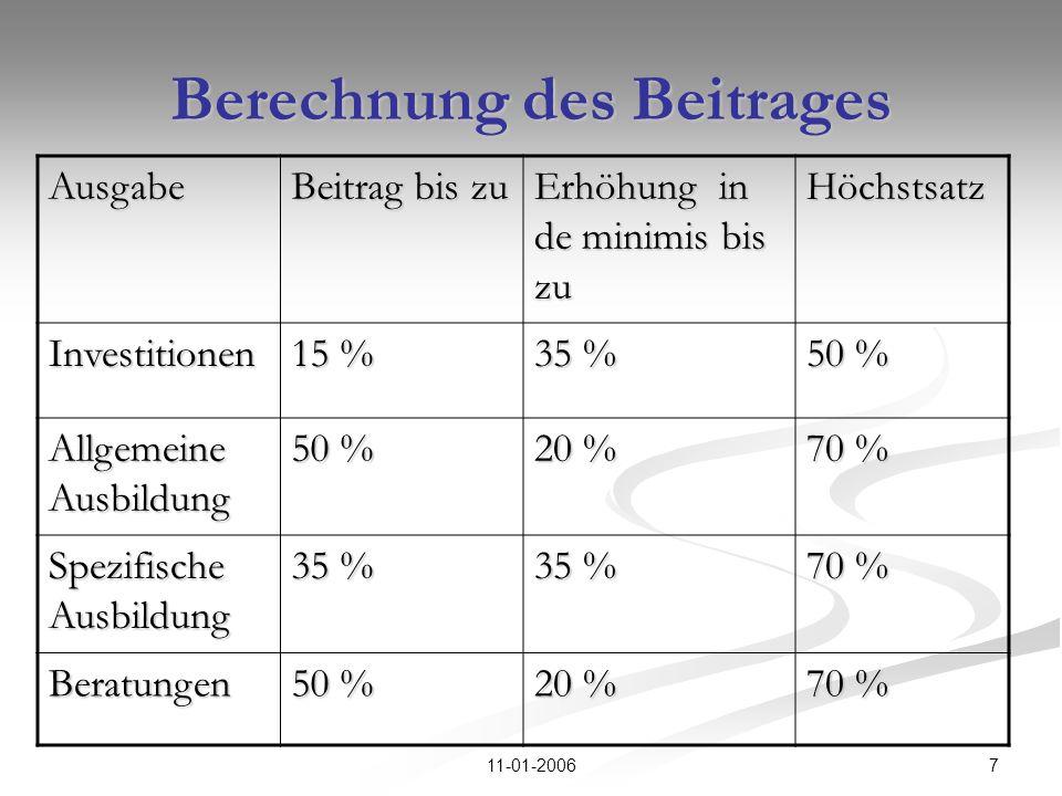 711-01-2006 Berechnung des Beitrages Ausgabe Beitrag bis zu Erhöhung in de minimis bis zu Höchstsatz Investitionen 15 % 35 % 50 % Allgemeine Ausbildun