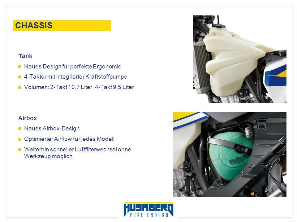21 CHASSIS Tank Neues Design für perfekte Ergonomie 4-Takter mit integrierter Kraftstoffpumpe Volumen: 2-Takt 10,7 Liter, 4-Takt 9,5 Liter Airbox Neue