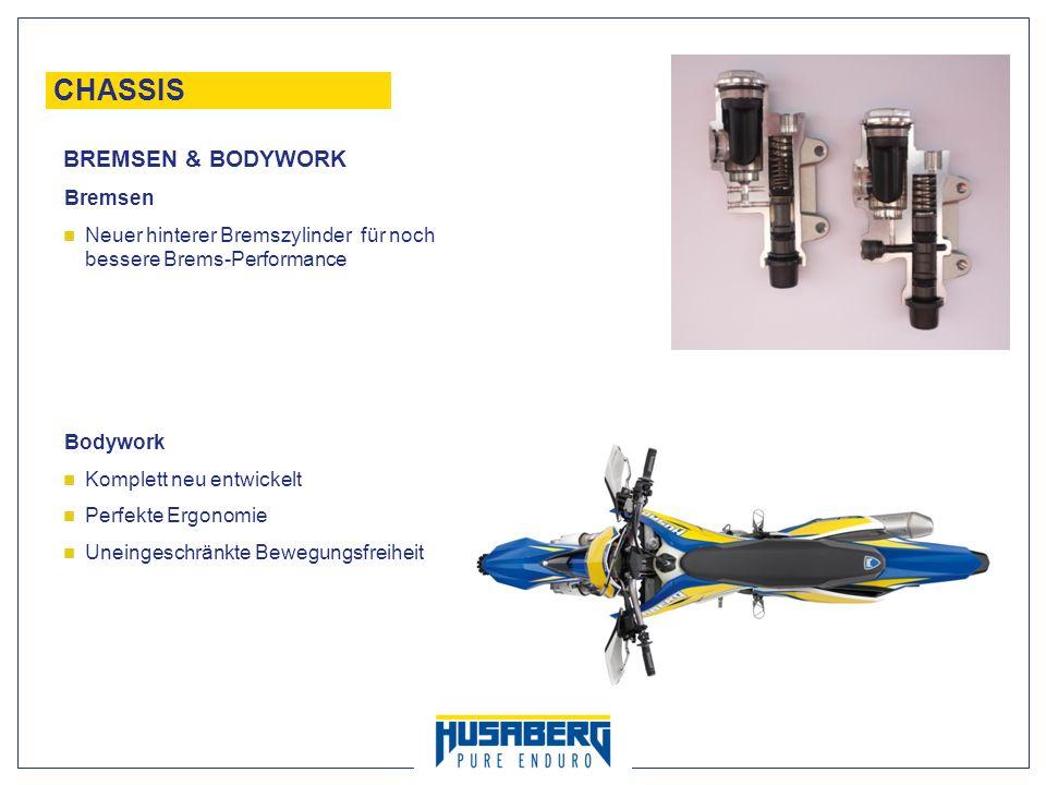 22 CHASSIS Bremsen Neuer hinterer Bremszylinder für noch bessere Brems-Performance Bodywork Komplett neu entwickelt Perfekte Ergonomie Uneingeschränkt