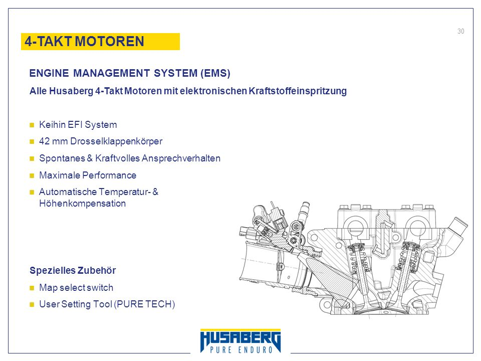 30 Alle Husaberg 4-Takt Motoren mit elektronischen Kraftstoffeinspritzung Keihin EFI System 42 mm Drosselklappenkörper Spontanes & Kraftvolles Ansprec