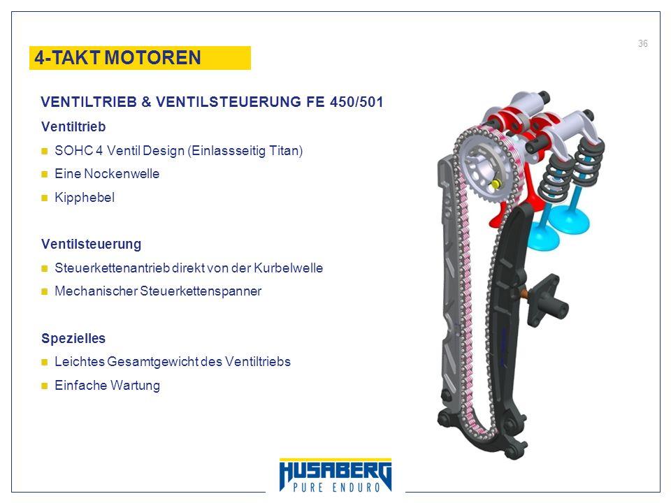 36 Ventiltrieb SOHC 4 Ventil Design (Einlassseitig Titan) Eine Nockenwelle Kipphebel Ventilsteuerung Steuerkettenantrieb direkt von der Kurbelwelle Me