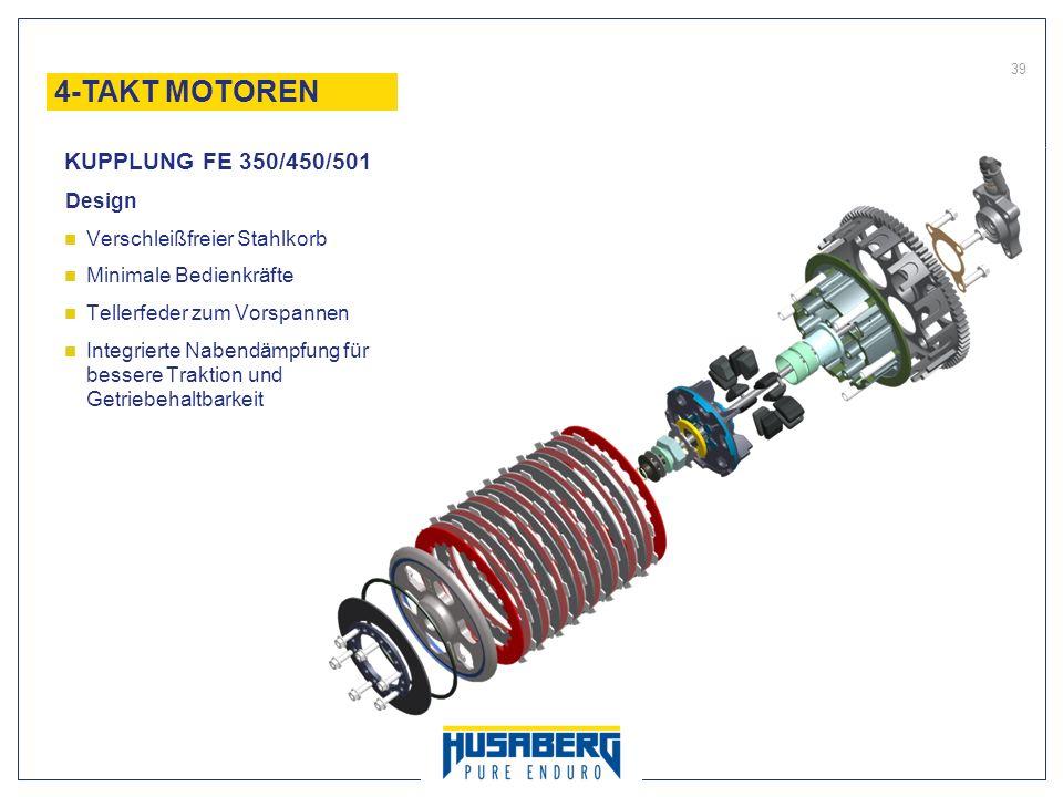 39 Design Verschleißfreier Stahlkorb Minimale Bedienkräfte Tellerfeder zum Vorspannen Integrierte Nabendämpfung für bessere Traktion und Getriebehaltb