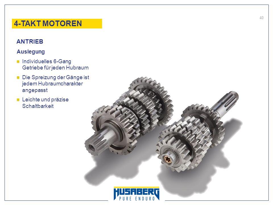 40 Auslegung Individuelles 6-Gang Getriebe für jeden Hubraum Die Spreizung der Gänge ist jedem Hubraumcharakter angepasst Leichte und präzise Schaltba